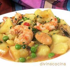Esta receta de patatas a la marinera es un guiso sabroso y consistente. Puedes sustituir las gambas por langostinos o añadir el pescado que más te guste.