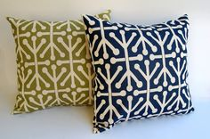 Throw pillow covers pair 18 x 18  inches Navy Blue Olive Green Natural Aruba navy pillows blue pillows Autumn cushion covers on Etsy, $37.80 AUD
