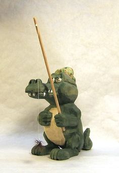 Handmade Fly Fishing Alligator Unique Gift by ClaudesWoodcarving
