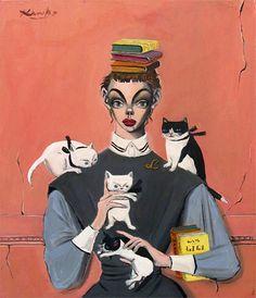 金子國義 四匹の猫と少女