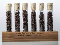 Coffee Bean Test Tubes in Home Made Rack. Test tubes available at www.indigo.com