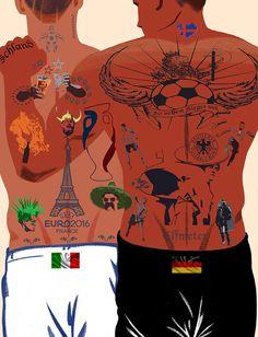 Euro 2016 France Football: a tattooed storytelling, Client: Die Zeit © Ivan Canu #football #germany #italy #tattoo #sport #conceptual #illustration salzmanart.com