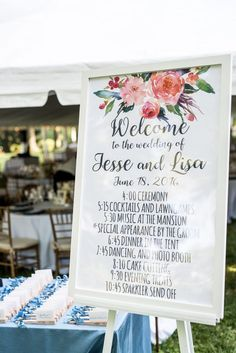 pink flower welcome sign, wedding day schedule sign, watercolor wedding signage from Morven Park mexican heritage inspired wedding by Michelle Lindsay Photography