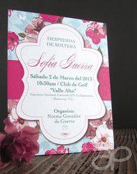 Invitación Vintage con Flores para Despedida de Soltera  www.alepineda.com