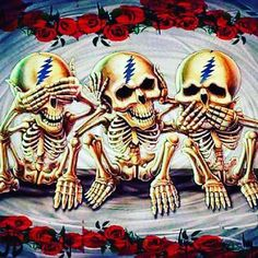 See, hear and speak no evil Grateful Dead Tattoo, Grateful Dead Image, Grateful Dead Poster, Dead Images, Dead And Company, See No Evil, Stoner Art, Forever Grateful, Skull Art