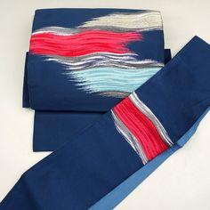 Blue, two parts obi / 水色で波打つような霞柄を施した二部式帯 http://www.rakuten.co.jp/aiyama #Kimono #Japan #aiyamamotoya