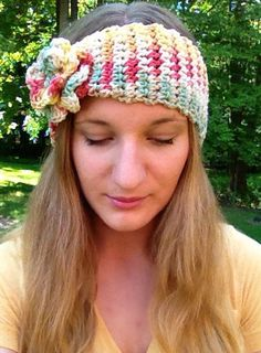 Cinched crochet headband with interchangeable by SarahRuthCrochet, $17.50