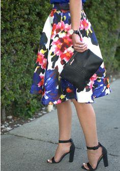 bold floral skirt