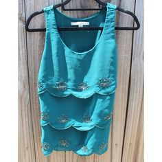READY TO SHIP!  Teal Blouse Teal blouse with scalloped ruffles and beads Lauren Conrad Tops Blouses