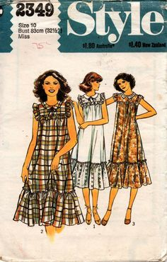 Style 2349 1970s Tent Dress Vintage Sewing Pattern Size 10 Bust 32 1/2 inches UNCUT Factory Folded
