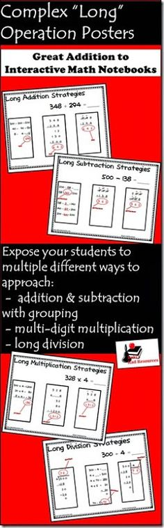 Complex Operations Posters - each free math poster introduces three different strategies to solve complex operation problems: long division, addition with regrouping, subtracting across zeros, multiple digit multiplication - from Raki's Rad Resources
