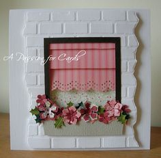 Window card with roman blind.  Tutorial for roman blind on blog.  How clever!  I love the window against the Brick wall. I must get that embossing folder.