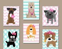 Girl DOG Nursery Wall Art, CANVAS or Prints Baby Girl Nursery Artwork, Puppy Art, Girl Bedroom Decor, Dog Theme, Dog Pictures Set of 6 Decor