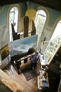 "Al's studio and his 12' ""North Easel"""