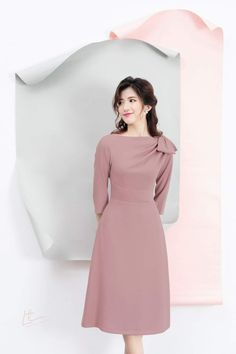 Pink Party Dresses, Pink Dress, Prom Dresses, Girls Fashion Clothes, Girl Fashion, Womens Fashion, Frock Fashion, Fashion Dresses, Sleeves Designs For Dresses