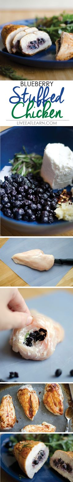 Blueberry stuffed chicken breasts with goat cheese and rosemary #recipe