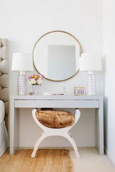 This vanity is actually an Ikea Hack - Kristen Kerr had her dad spray paint a plain white Ikea Malm dressing table a high gloss gray then paired it with a brass mirror from - from design sponge - Daily Home Decorations Room Inspiration, Decor, Bedroom Decor, Furniture, Interior, Mid Century Dressing Table, Bedroom Inspirations, Ikea Malm Dressing Table, Home Decor