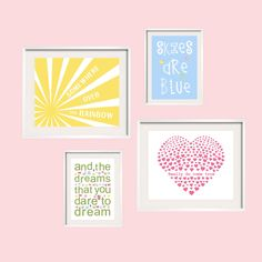 Somewhere Over The Rainbow Girl Nursery Art Prints 5x7 and 8x10 by YassisPlace. $65.00, via Etsy.