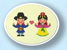 Hanbok Couple. Korean Traditional Costume Cross Stitch PDF Pattern via Etsy