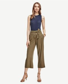 Maybe without the bowtie at the waist?  Love how loose and comfortable these pants look while still being professional.  Tie Waist Cropped Wide Leg Pants