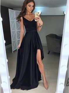 A-Line V-Neck Asymmetry Floor-Length Black Prom Dress With Pleats