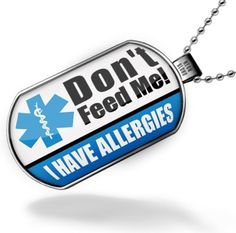 Neonblond Dogtag Medical Alert Blue = I have allergies dog tag
