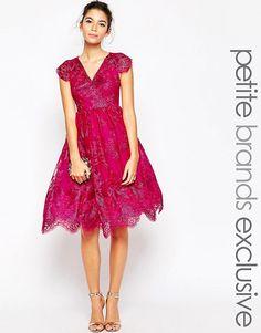 Chi Chi Petite   Chi Chi London Petite Metallic Lace Full Prom Dress