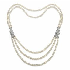 A NATURAL PEARL NECKLACE, WITH DIAMOND PANELS BY CARTIER