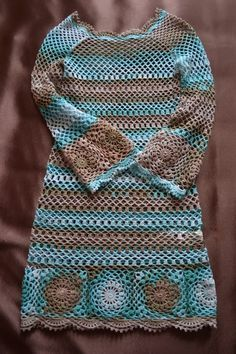 "36 Creative Crochet Ideas & Patterns to Try - Theresia Schubert - 36 Creative Crochet Ideas & Patterns to Try Boho Crochet Dress Love the Boho or ""Hippy Chic"" style? Crochet a dress to compliment this look, bright and colorful ideal for your wardrobe. Pull Crochet, Crochet Yarn, Knit Crochet, Crochet Hooks, Easy Crochet, Crochet Jumper, Crochet Sweaters, Knitted Baby, Crochet Skirts"