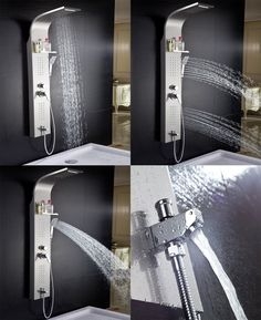 ELLO&ALLO Stainless Steel Rainfall Waterfall Shower Panel Tower Rain Massage System with Jets, Hand Shower and Horizontal Spray Fingerprint-Free, Brushed Nickel