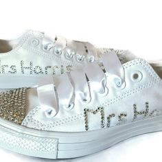 We love that #modernbrides take #comfort seriously on their #weddingday we can #customiseconverse with your name and #weddingdate to make them #personalised for you! Available from our website #linkinourbio #customkicks #rhinestoneconverse #worldwidedelivery #weddingplanning #monoconverse #giftforyourbride #sparklycons #chucks #weddingshoes #weddingkicks