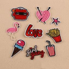 Flamingo Unicorn etc Patches 6PCS Embroidered Iron on Clothing DIY Custom Badges