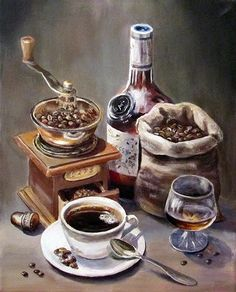 Diamond Painting Kit Сoffee laced with Brandy, Diamond Paint… – Stone House Decoupage Vintage, Decoupage Paper, Coffee Cafe, Coffee Shop, Espresso Coffee, Art Deco Home, Kitchen Art, Food Illustrations, Coffee Break