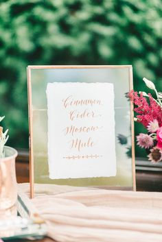 From the copper calligraphy to the coordinating frame, we love everything about this cocktail hour signature drink signage | FallBook 2015 {Elizabeth Fogarty}