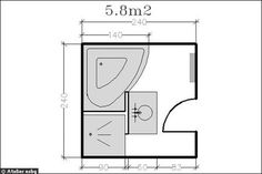 Le plan d'une salle de bains de 5,8m² avec douche + baignoire d'angle