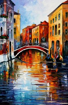 CANAL IN VENICE - PALETTE KNIFE Oil Painting On Canvas By Leonid Afremov