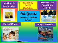 Cloze Fill in the Blank Worksheets for Houghton Mifflin Harcourt 4th Grade Theme 4