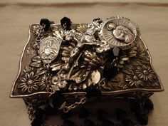 Long ANTIQUE Sterling Silver ROSARY Saint Jude Medal Floral Metal Box Vintage