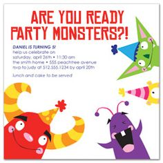 Pirate island boy party ideas pinterest invitation wording kids party monster printable birthday invitation stopboris