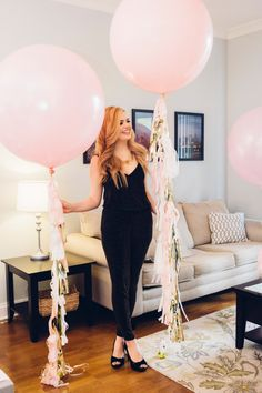 Bridal shower balloons-   blush, balloons with gold and blush tassels - bridal shower photo idea {Courtesy of Etsy}