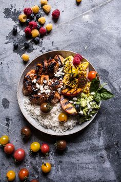 BBQ Chicken and Grilled Corn Rice Bowls with Berry Smashed Avocado   halfbakedharvest.com @hbharvest