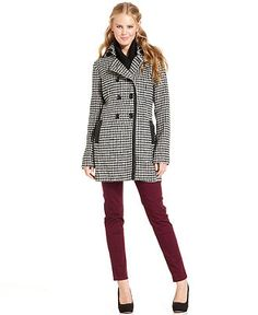 BCX Juniors Coat, Houndstooth-Print - Juniors Coats - Macy's