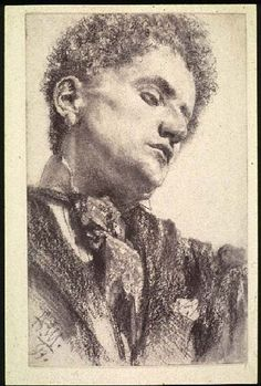 """""""Head of a Young Man"""" by Adolf Menzel, 1897 (charcoal & stump on wove paper)"""