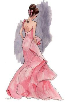 Oscar de la Renta pink gown drawing
