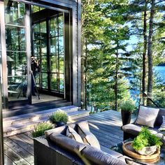 my future house Ready For Our Close Up Style At Home, Outdoor Spaces, Outdoor Living, Lakeside Living, Outdoor Seating, Indoor Outdoor, Haus Am See, Cabins In The Woods, My Dream Home