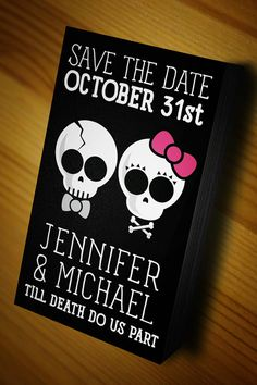 Day of the dead Wedding / Goth Wedding Save The Date by SheSheMcBride, $20.00