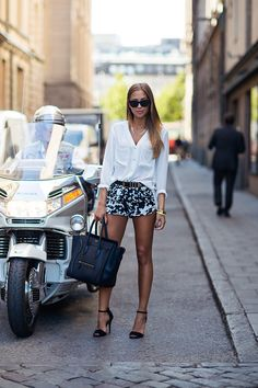 black/white shorts and white blouse #fashion #style #blogger