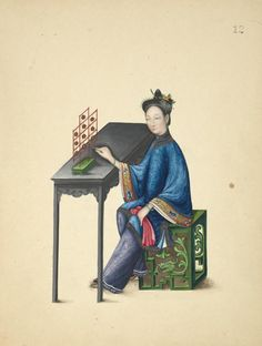 Chinese Woman with Antique Traditional Musical percussion instrument Yun Luo