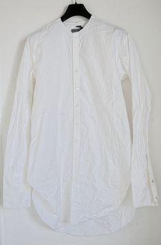 BRAND NEW ELENA DAWSON MEN'S WHITE NO COLLAR LONG COTTON SHIRT size M,L,HARNDEN…