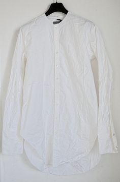 BRAND NEW ELENA DAWSON MEN'S WHITE NO COLLAR LONG COTTON SHIRT size M,L,HARNDEN…